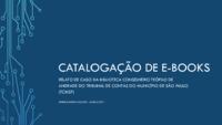 Catalogação de e-books: relato de caso da Biblioteca Conselheiro Teófilo de Andrade do Tribunal de Contas do Município de São Paulo (TCMSO)